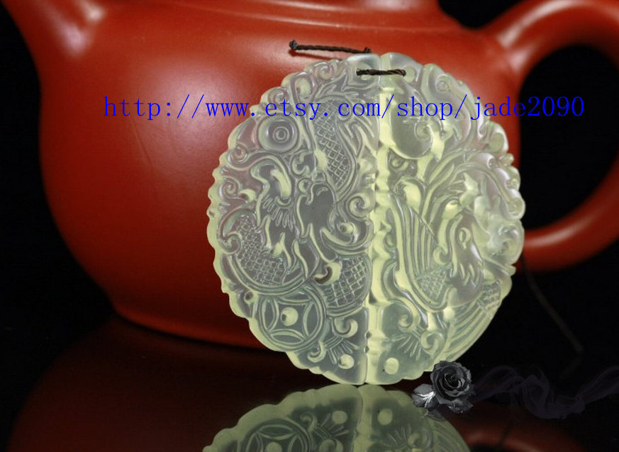 Primary image for Free Shipping -   jade dragon  phoenix  , hand-carved jade the luck dragon  phoe