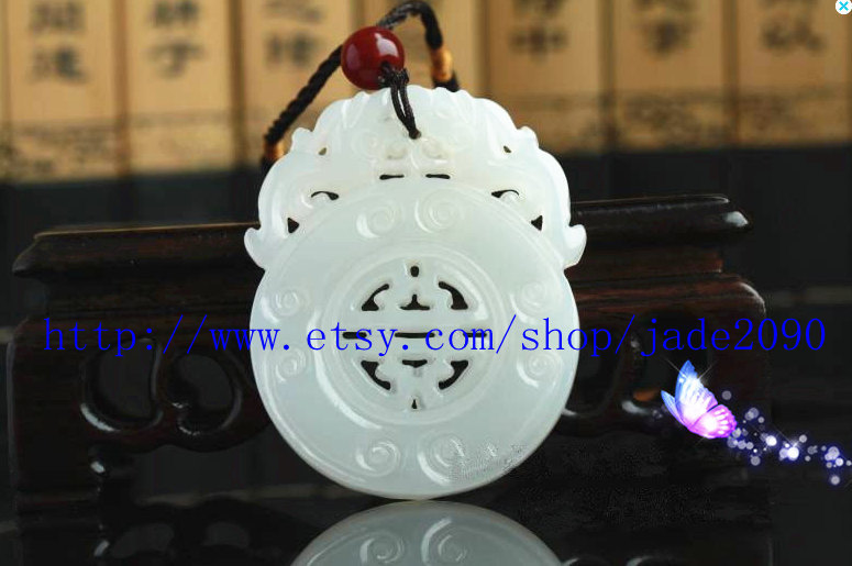 Primary image for Free Shipping - good luck Natural white jade carved prayer Blessing  Health Amul