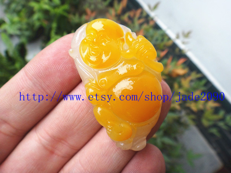 Primary image for Free shipping -  AAA jadeite jade Hand carved  Natural Yellow  jade jadeite Laug