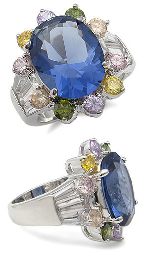 MULTI-COLOR CZ RING - Oval Sapphire CZ size 5 (2 left)
