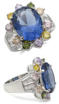 MULTI-COLOR Cz Ring - Oval Sapphire Cz Size 6 (2 Left) - $24.49