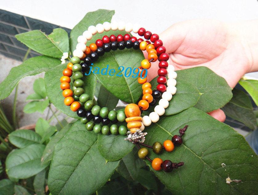 Primary image for Free Shipping -  7 mm prayer beads , Tibetan Buddhism Red , yellow, white ,green