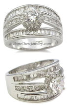 CZ ENGAGEMENT RING - baguette & solitaire SZ 8 (2 left) - $28.49