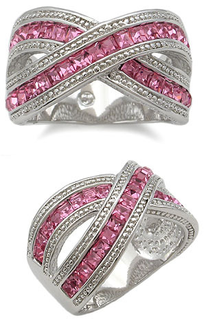 RIGHT HAND CZ RING - deep pink Size 8 last 1