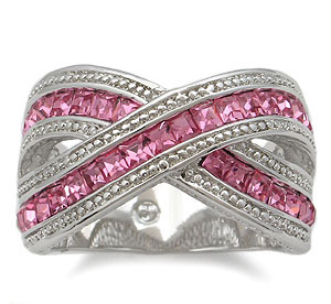 RIGHT HAND CZ RING - deep pink Size 9 last 1