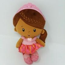 "Fisher Price PRINCESS CHIME DOLL 10"" Plush Rattle Mattel 2014 Baby Brown... - $13.06"