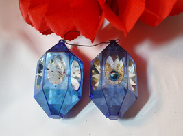 Vintage 50s Set of Two Diorama Blue Hexagon Christmas Ornaments - $18.00