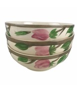 3 Vintage Franciscan Desert Rose Footed Oatmeal Chili Bowls England Thre... - $56.10