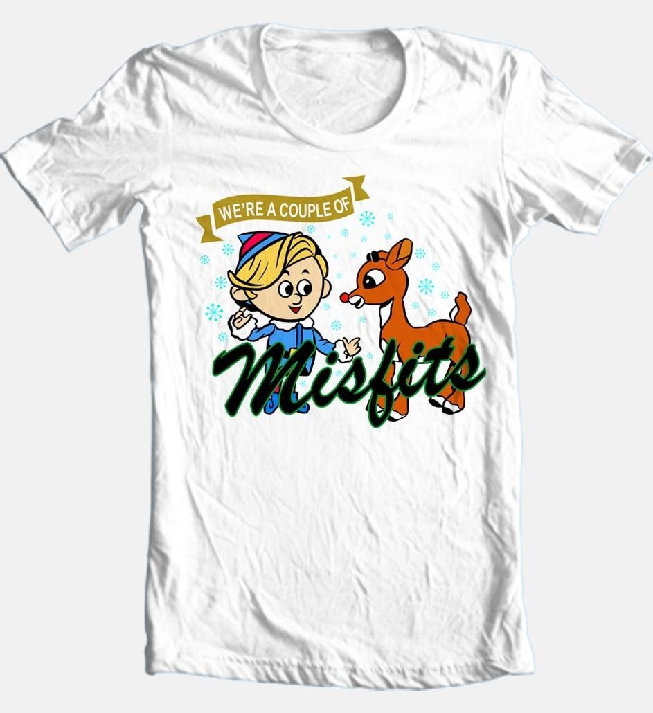 We re a couple of misfits christmas white cotton t shirt for sale online graphic tee