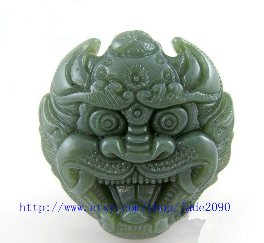 Primary image for Free Shipping -   Good luck Hand- carved Natural green Dragon charm jade Pendant