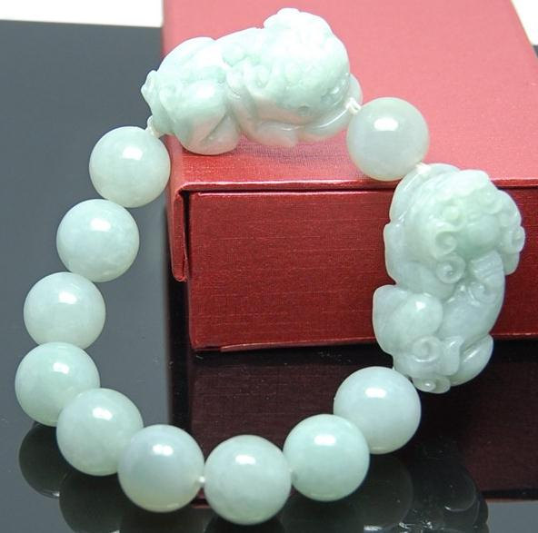 Free Shipping - good luck Amulet Natural green jade carved '' PI YAO'' Prayer Be image 2
