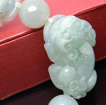 Free Shipping - good luck Amulet Natural green jade carved '' PI YAO'' Prayer Be image 3