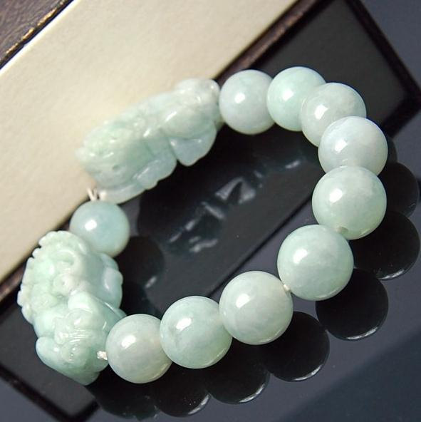 Free Shipping - good luck Amulet Natural green jade carved '' PI YAO'' Prayer Be image 4