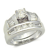 STERLING SILVER CZ WEDDING RING - size 5 - $39.49
