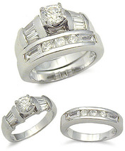 STERLING SILVER CZ WEDDING RING - size 8 last 1 - $39.49