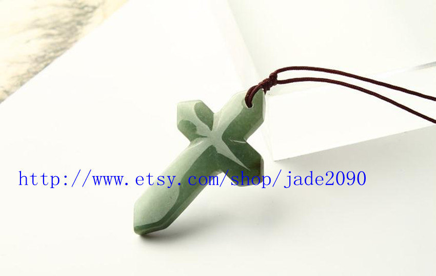 Primary image for Free Shipping - Good luck  natural  green jade Cross charm  jade Pendant - jade2
