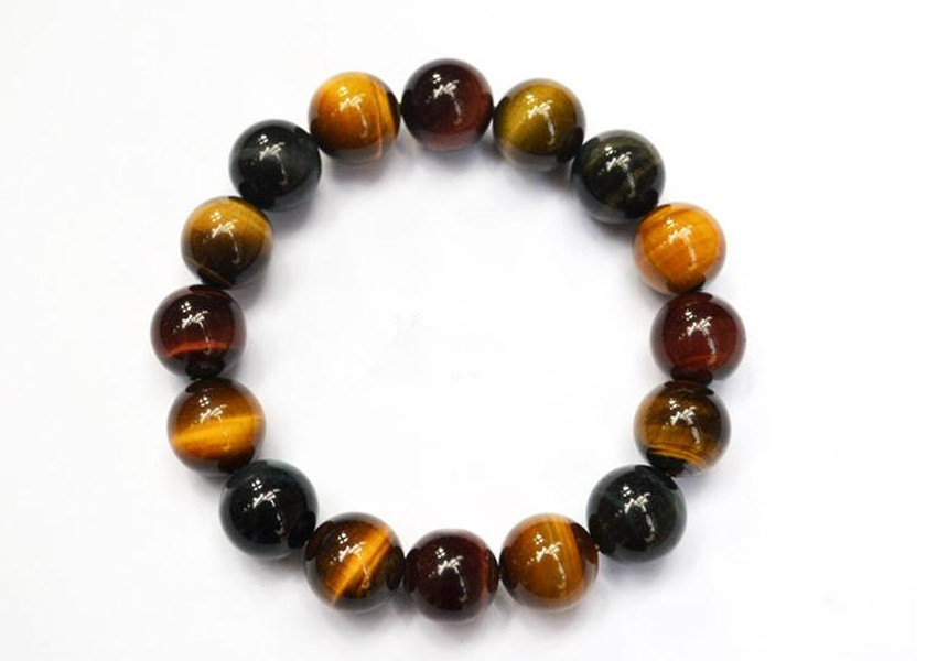 Free shipping - good luck Natural Colorful tiger eye stone charm beaded Bracelet