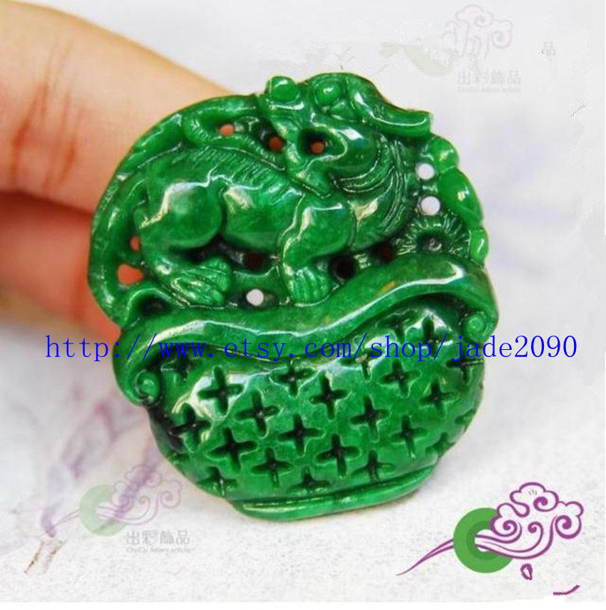 Primary image for Free Shipping - Hand carved  Natural Green jade  Pi Yao  Amulet charm Pendant ,