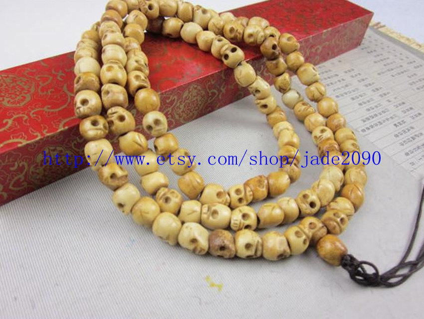 Primary image for Free shipping - Tibetan Buddhism Hand carved skull Bead OX Bone Meditation yoga