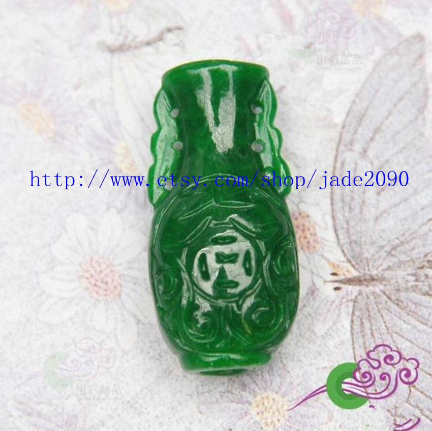 Primary image for Free Shipping - chinese jade Vase , HAND-CARVED Natural Green jadeite jade Vase