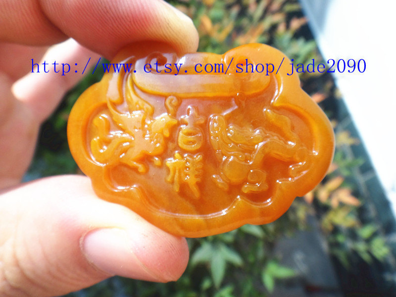 Primary image for Free Shipping - Natural  jadeite jade dragon Phoenix  Hand- carved Natural yello