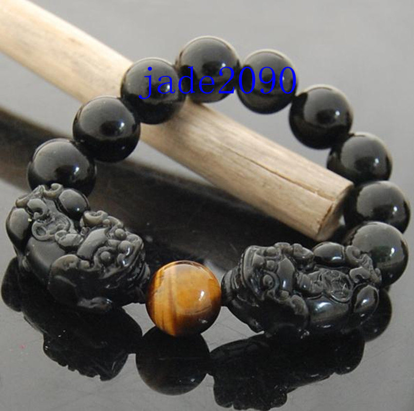 Primary image for Free Shipping -  Handcrafted Grade AAA Natural black with yellow tiger eye beads