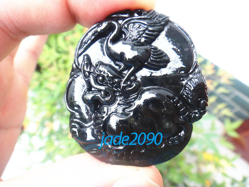 Primary image for Free shipping - Hand carving Natural black Dragon Turtle jadeite jade charm Pend