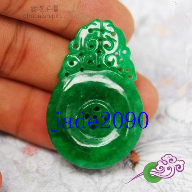 Primary image for Free Shipping -  Natural green jade carved prayer Blessing  Health Amulet charm