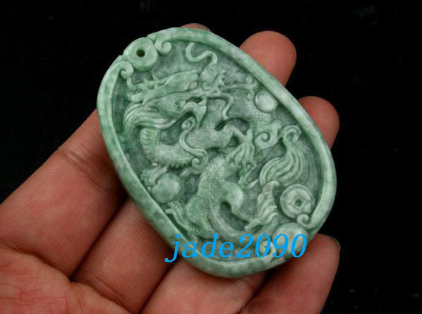 Primary image for Free Shipping -Chinese Natural Green Dragon Jadeite Jade Pendant charm - from ja