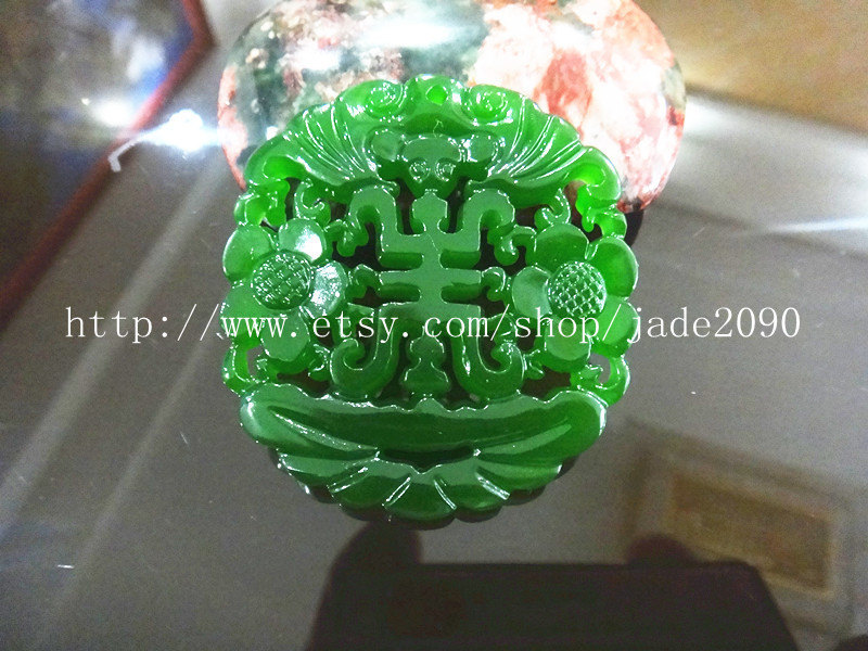 Primary image for Free Shipping - good luck Amulet  Natural green  jade carved  best Blessing  jad