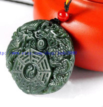Free Shipping -  china Gossip Dragon Phoenix pendants ,lack green jadeite jade l - $26.00