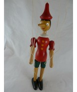 """VINTAGE Hand Made Pinocchio Wooden Marionette 12"""" signed by Artist Italy - $44.54"""