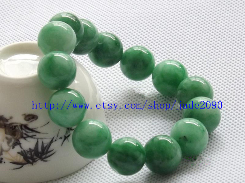 Primary image for Free Shipping - green jadeite jade bracelet Green jadeite Jade Round bead prayer