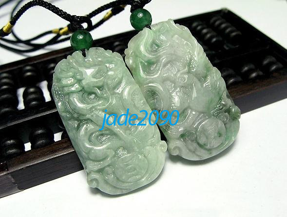 Primary image for Free Shipping - green jadeite jade Good luck Hand- carved AAA Natural green Drag