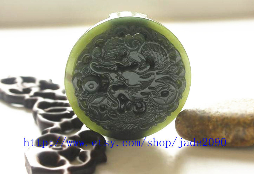 Primary image for Free Shipping - Empire dragon pendants ,  Real Green jade craved Royal dragon pe
