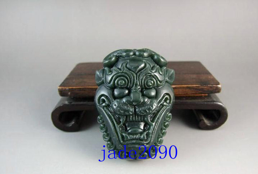 Primary image for Free Shipping - AAA Natural Green jade Good luck Hand- carved Natural green Lion