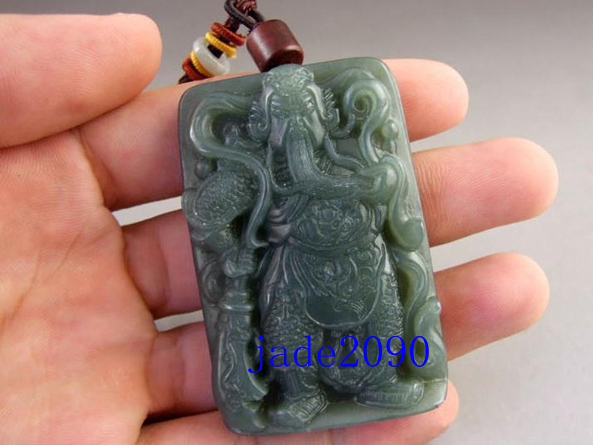 Primary image for Free shipping - NATURAL Green jadeite jade carved ''Guan Yu'' charm beaded penda