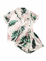 Floerns Women's Notch Collar Palm Leaf Print Sleepwear (Large|A Multi Pr... - $38.34