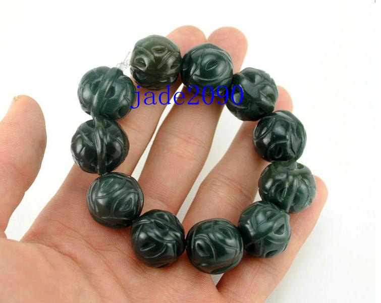 Primary image for Free Shipping - Tibetan Buddhism Hand carved Natural Green jade Walnut beaded Pr