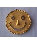 SMILEY/HAPPY FACE Goldtone Pendant w/Rhineston... - $10.99