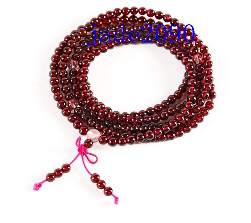 Primary image for Free Shipping - Tibetan Buddhism Natural Red Garnet meditation yoga 216 Beads Pr