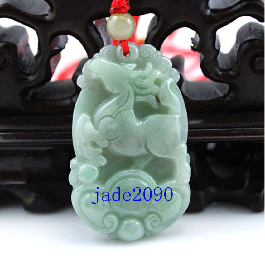 Primary image for Free Shipping -  green jade , Natural green jadeite jade carved Horse charm Pend