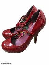 Madden Girl Women 6 Red Patent Pumps Wingtip Mary Jane Shallis High Heels - $23.02