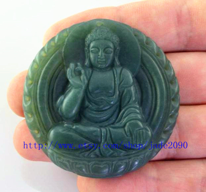 Primary image for FREE SHIPPING - Tibetan Buddhism Natural dark green  jade luck Laughing Buddha