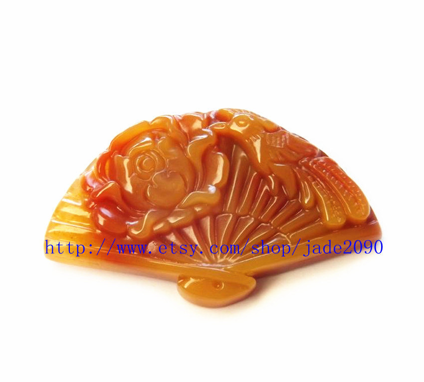 Primary image for Free shipping - Fashion Yellow jadeite jade luck Phoenix Royal jade fan charm ja