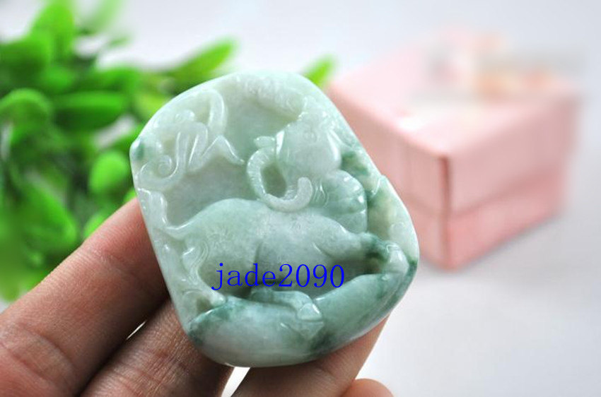 Primary image for Free Shipping -  jadeite jade ox , Elegant Natural green ox jadeite jade charm P