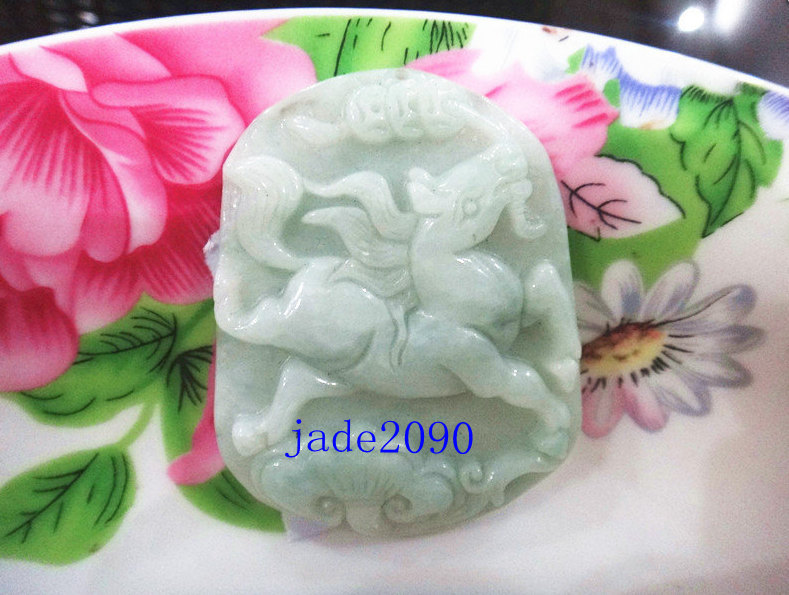 Primary image for Free Shipping -  Real jade , Natural green jadeite jade carved Horse charm Penda