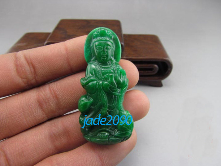 Primary image for Free shipping - green jadeite jade,  Natural green jade carved Buddhist Bodhisat