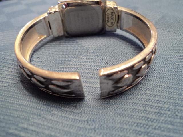 Ladies Stainless Steel Geneva Elite Cuff With Hearts Watch