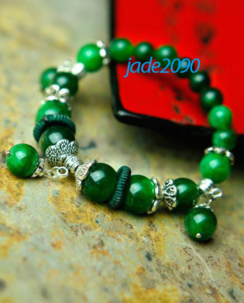 Primary image for FREE SHIPPING - Tibetan Natural green jadeite jade with Silver charm beaded  bra